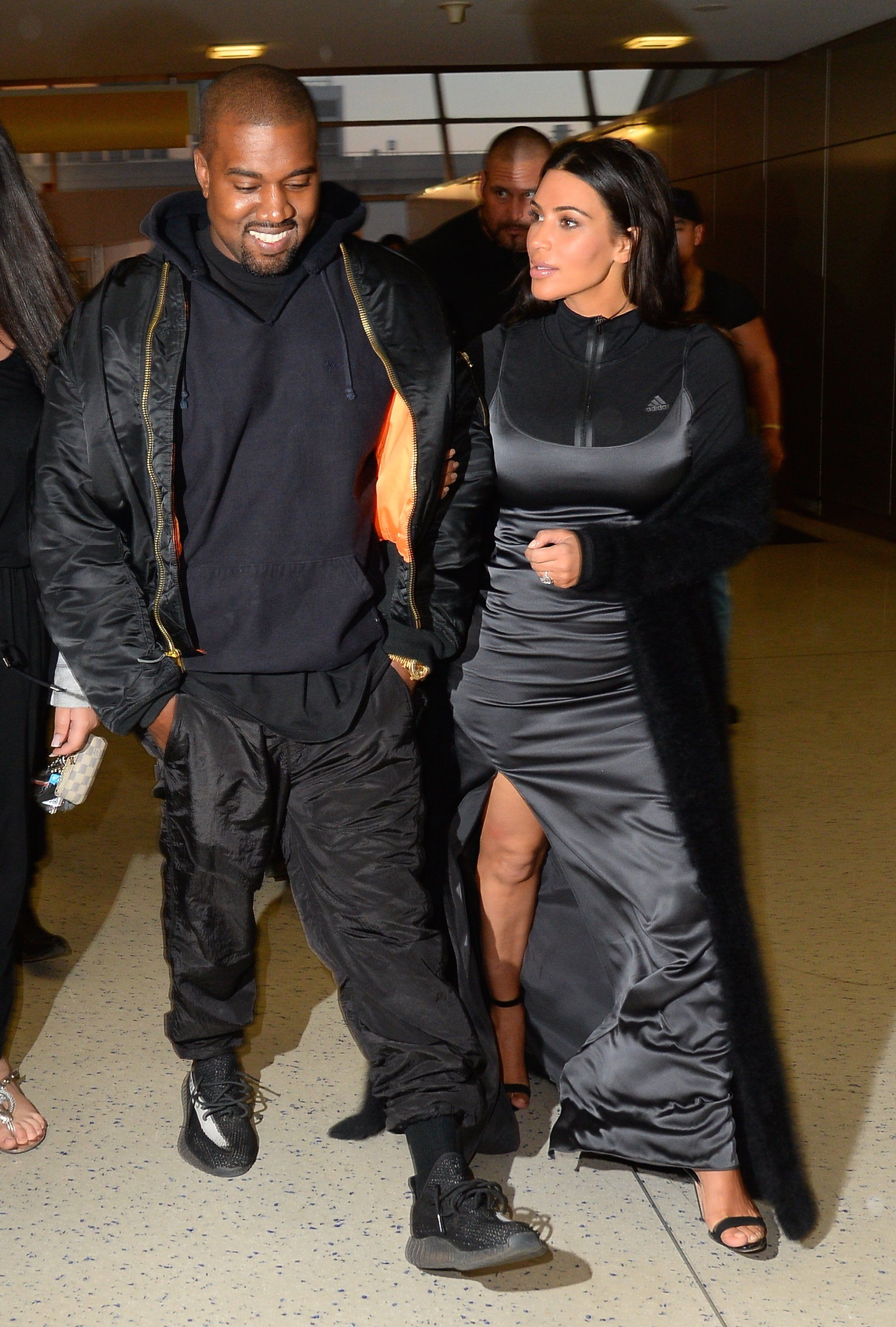 When Kim Expertly Layered Her Look And Kanye Did The Same Only With Sweats And A Jacket Carhartt Jacket Carhartt T Shirt Fashion