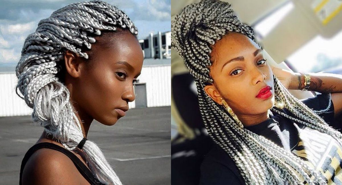 grey color box braids hairstyles for black women
