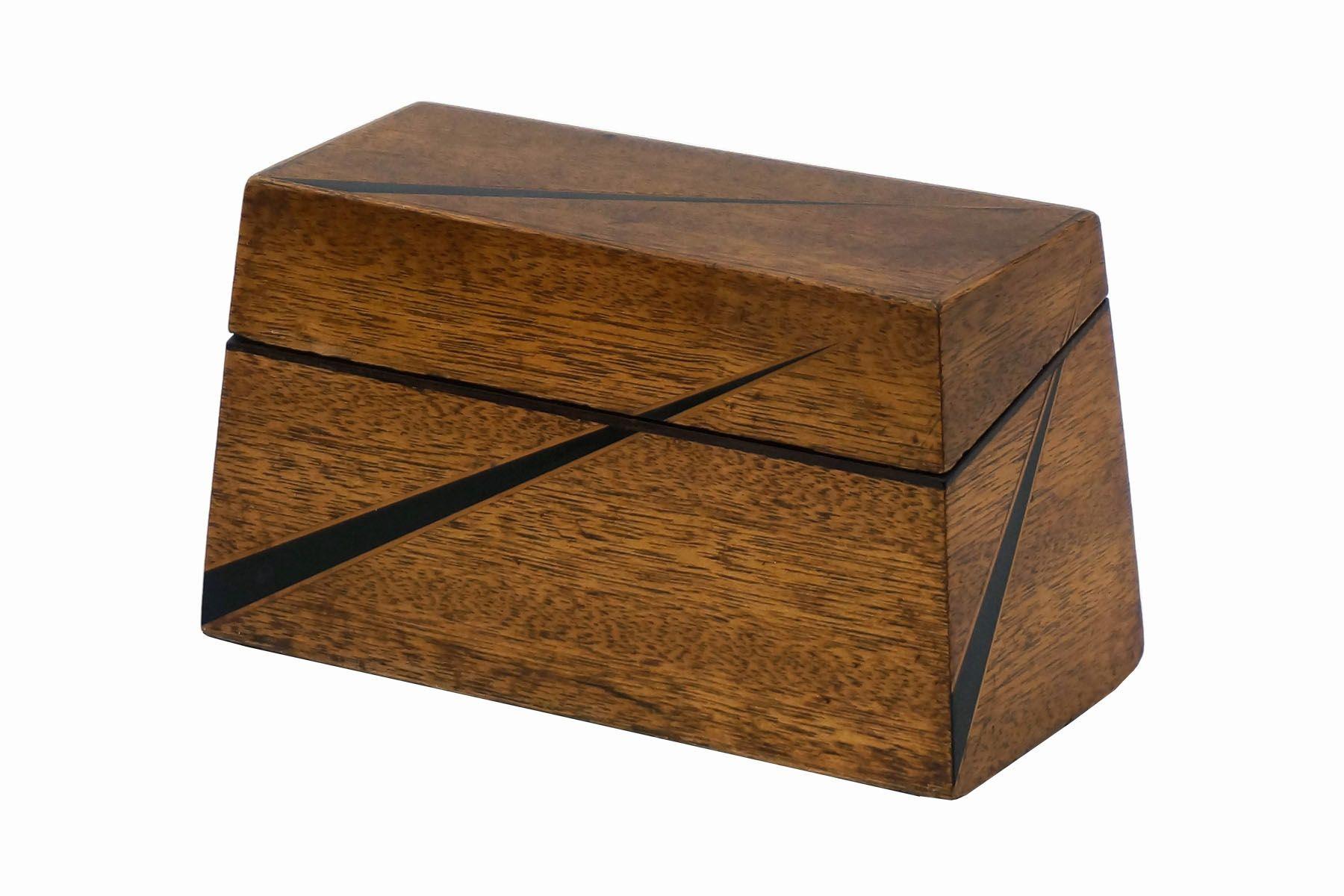 Oak Pyramid Shaped Art Deco Box With Ebony Inlay England 1920