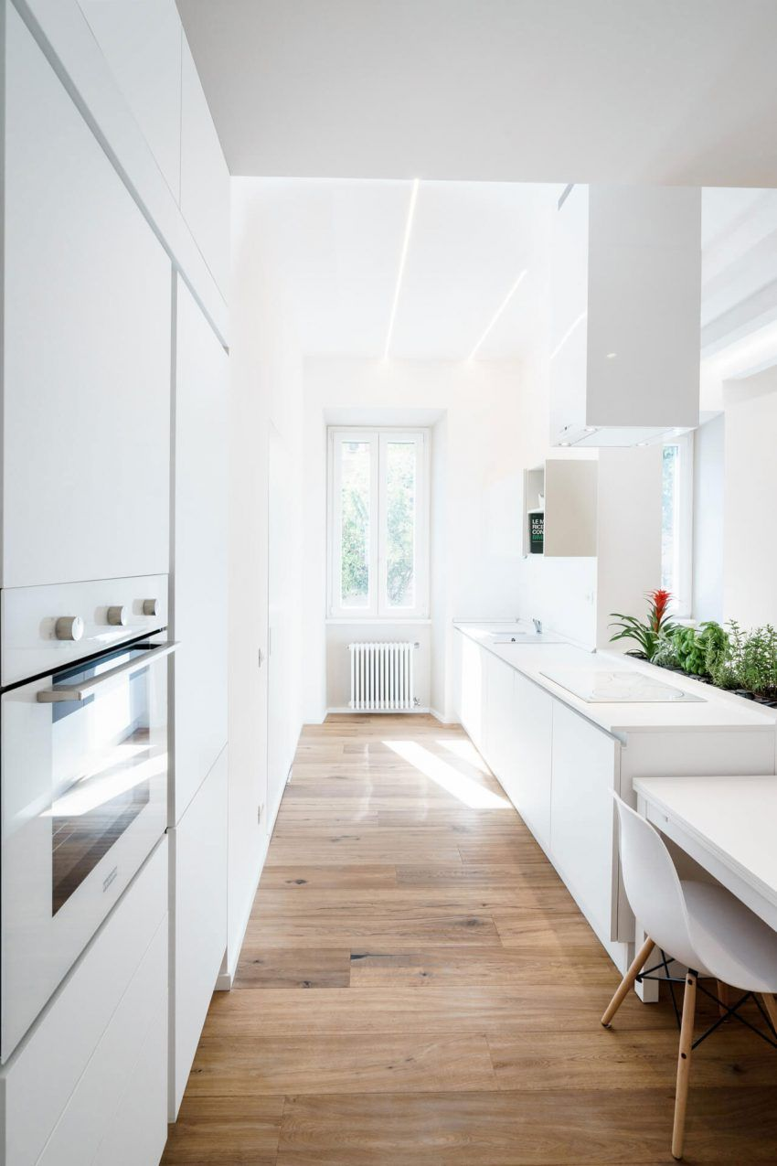 design kitchen italian%0A Brain Factory Designs a White Apartment in the Historic District of Pigneto  in Rome  Italy