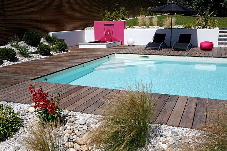 amenager-autour-piscine-beton idées maison Pinterest Zinc - amenagement autour d une piscine