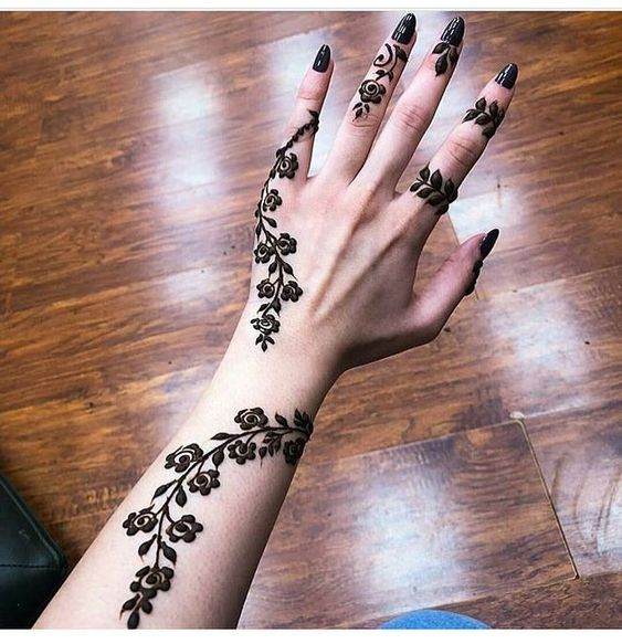 Henna Tattoo Designs For Diwali: Simple Little Rose Flower Henna Designs For Diwali 2019