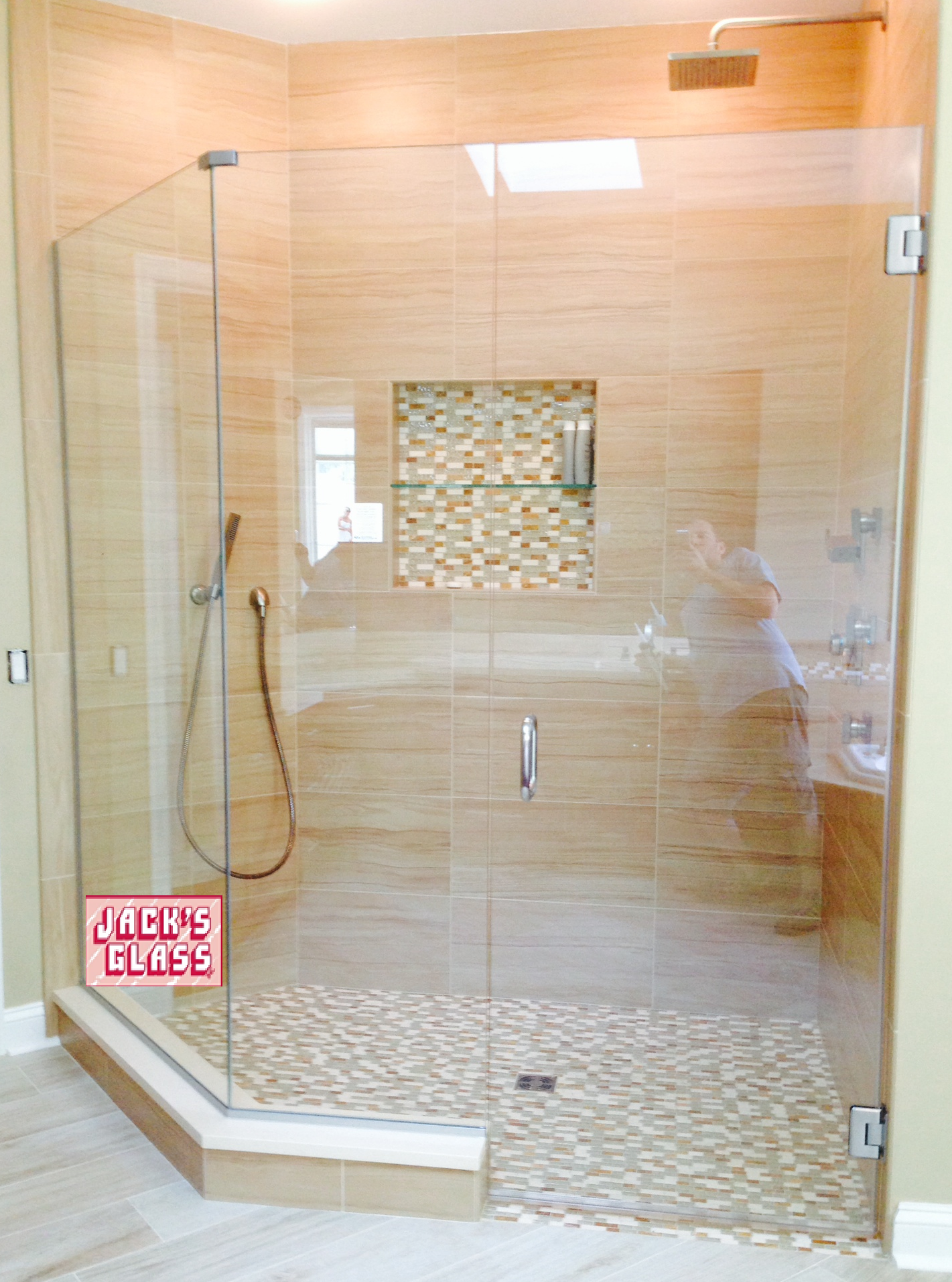 Frameless Neo Angled Shower Enclosure With Clip System Shower