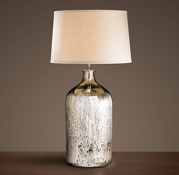 19th C. Vintage Mercury Glass Tall Table Lamp (for Booths)   Restoration  Hardware