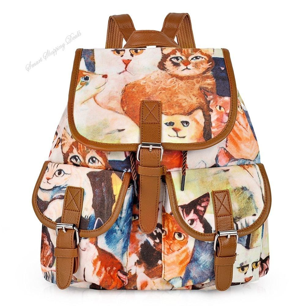 Cute Canvas Backpack Casual School Bag Travel Daypack For Girl