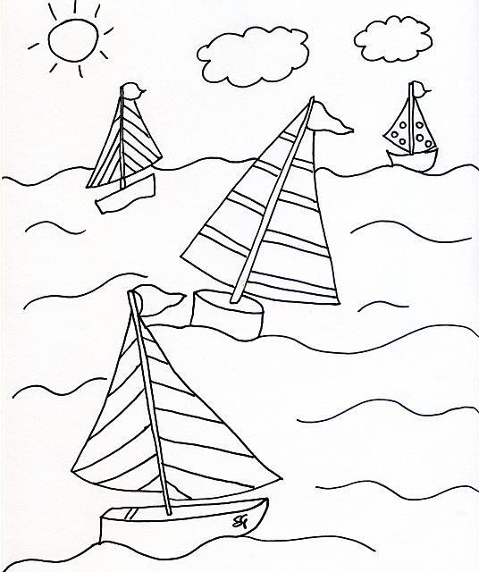Barche A Vela Nel Mare Disegni Da Colorare Per Bambini Mare