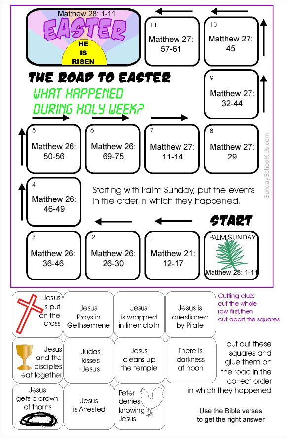 sunday school kids holy week the road to easter activity with bible verses for older kids to. Black Bedroom Furniture Sets. Home Design Ideas