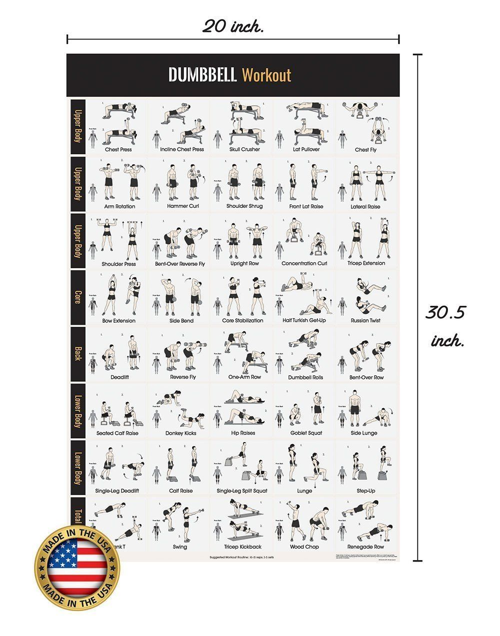 dumbbell workout exercise poster - home gym - dumbbell workouts - strength training