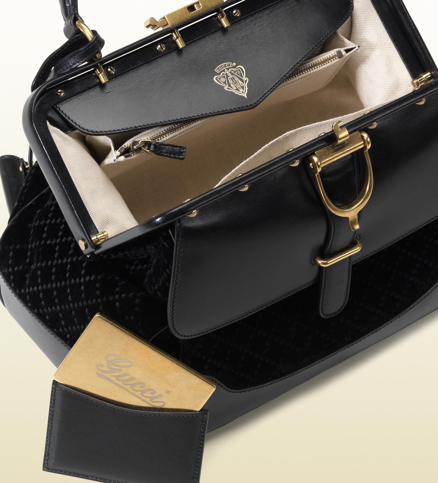 7f07d6de4957 Gucci Women's Fall Winter 2012-2013 Collection: Lady Stirrup Top Handle  Black Diamante Velvet Bag