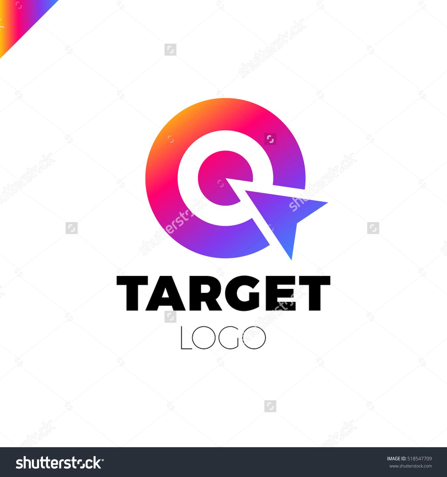 Target Hit Two Circle With Arrow Branding Identity Corporate Vector Logo Design Template Isolated Rainbow Grad Vector Logo Design Logo Design Template Pin Logo