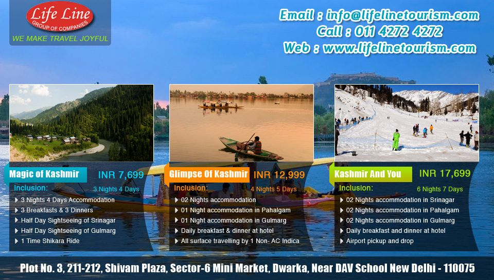 Enjoy comfortable and luxurious holiday packages of Kashmir from Life Line Tourism  View More : http://www.lifelinetourism.com/India/Kashmir-holiday-packages/