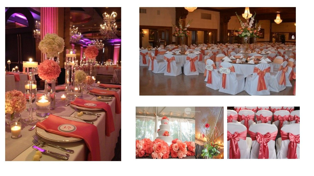decorating ideas for outside wedding ceremony%0A Sage and Coral Wedding Decorations