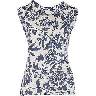 7c1e5be108 Blu Orchid White   Blue Floral Print Linen Blouse