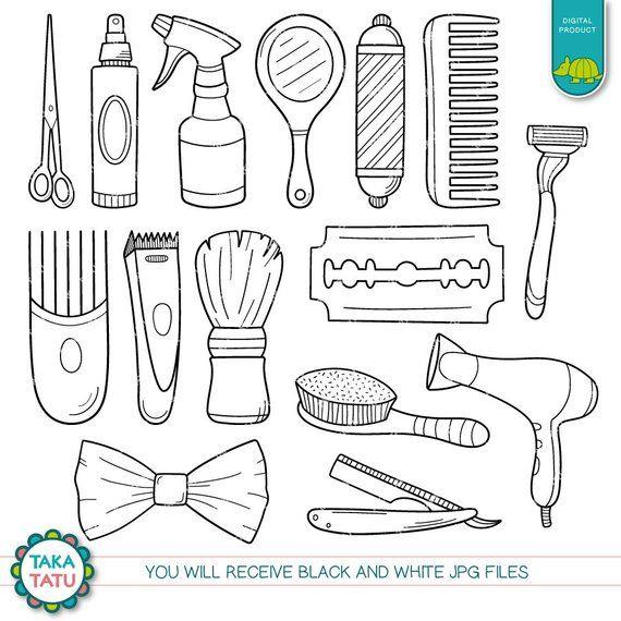 Barber Shop Digital Stamp Barber Shop Clipart Salon Etsy Digital Stamps Clip Art Drawing For Kids