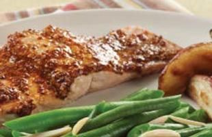 Smoky Mustard-Maple Salmon3 tablespoons whole-grain or Dijon mustard 1 tablespoon pure maple syrup 1/4 teaspoon smoked paprika or grund chipotle pepper 1/4 teaspoon freshly ground pepper 1/8 teaspoon salt 4 4-oz skinless, center-cut, wild-caught salmon fillets