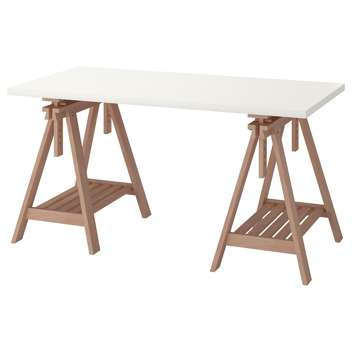 Linnmon Finnvard Table Blanc Hetre 150x75 Cm Les Treteaux Reglables Permettent De Choisir La Position De Votre Plateau De En 2020 Table Ikea Chevalet Bureau Ikea
