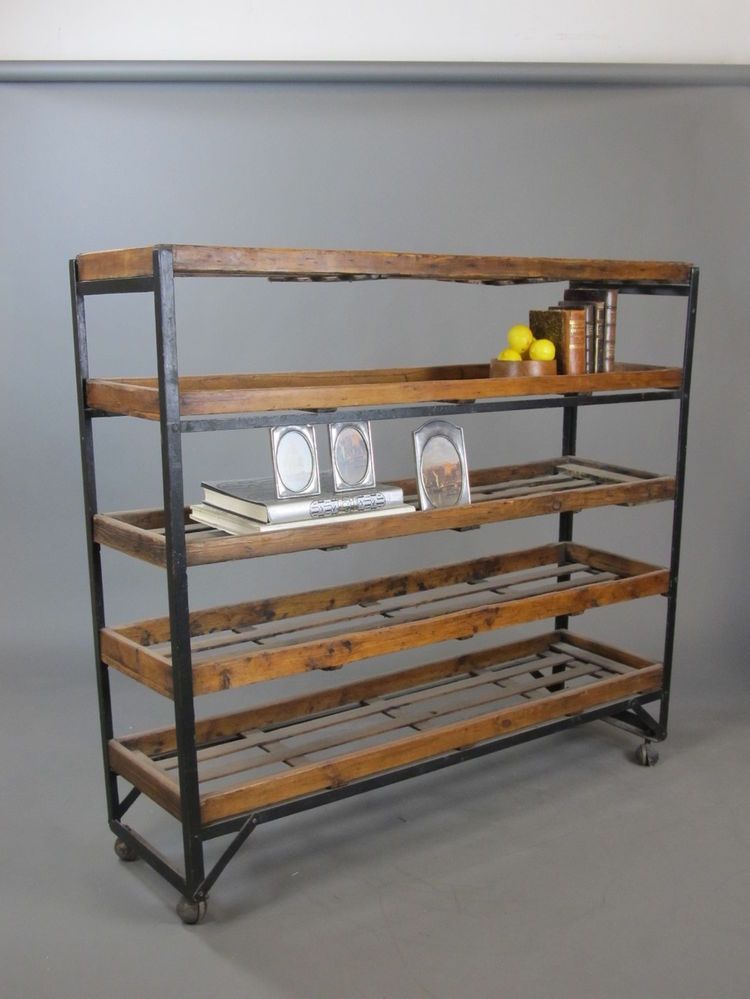 Antique Factory Industrial Reclaimed Factory 5 Rack Shelving Cart