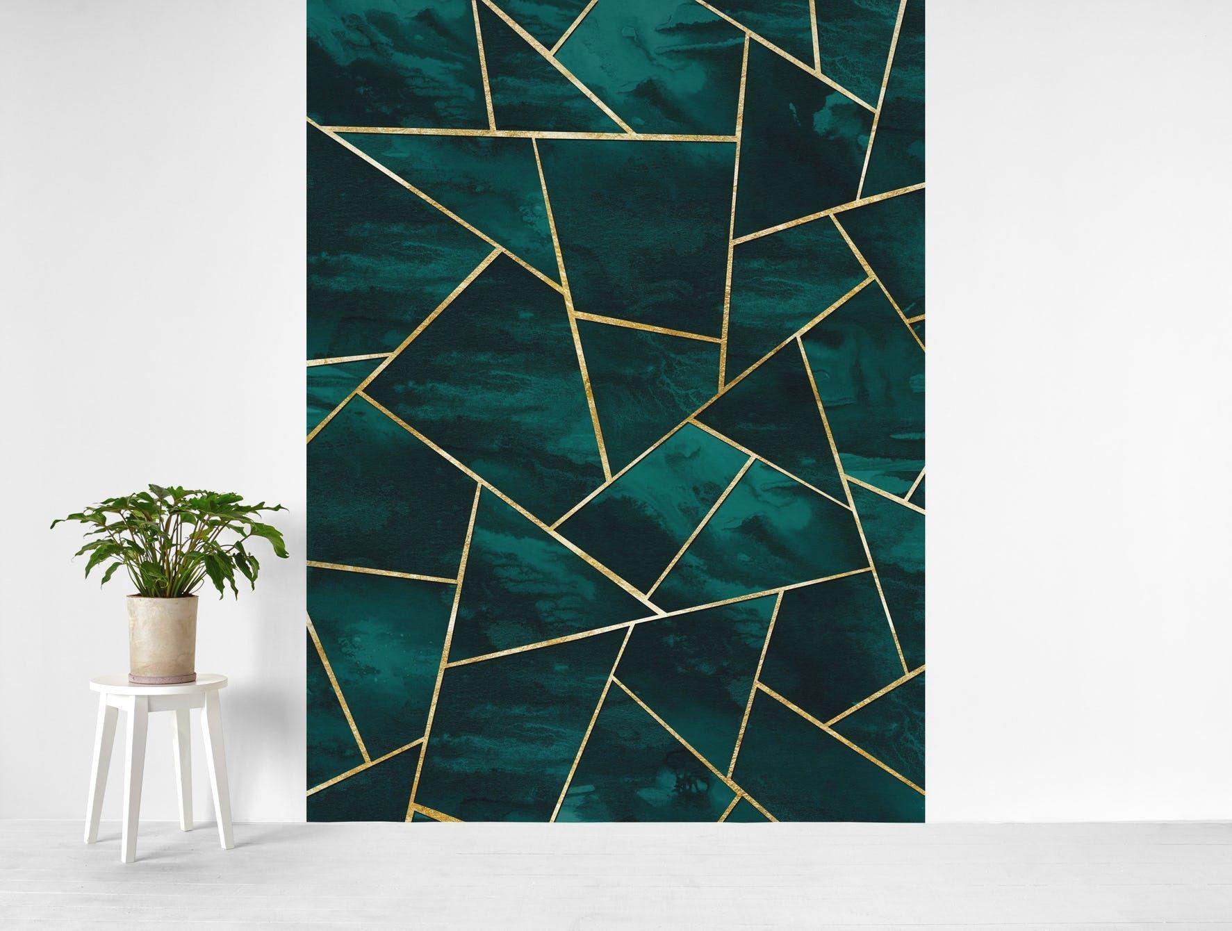 Dark Teal Ink Gold Geometric 1 Wallpaper in 2020 Wall