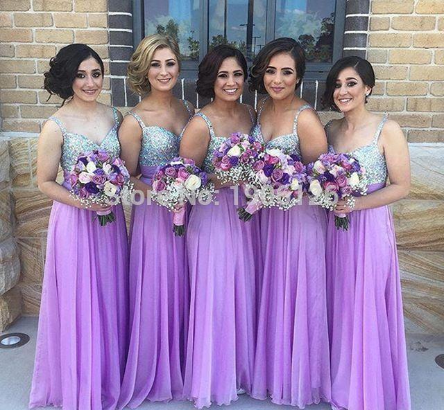 2363a424b Modest púrpura lila de dama de honor Vestidos lentejuelas gasa ...