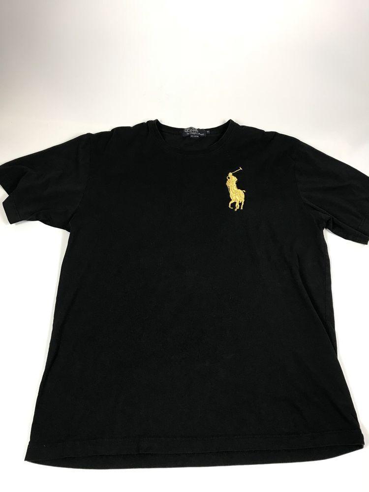 41c1c372b9a85 Polo Ralph Lauren Black Cotton T-Shirt w/ Gold Horse - Men's Tee XL | eBay
