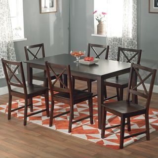 Overstock - Cross-back Espresso 7-piece Dining Set - Update your ...