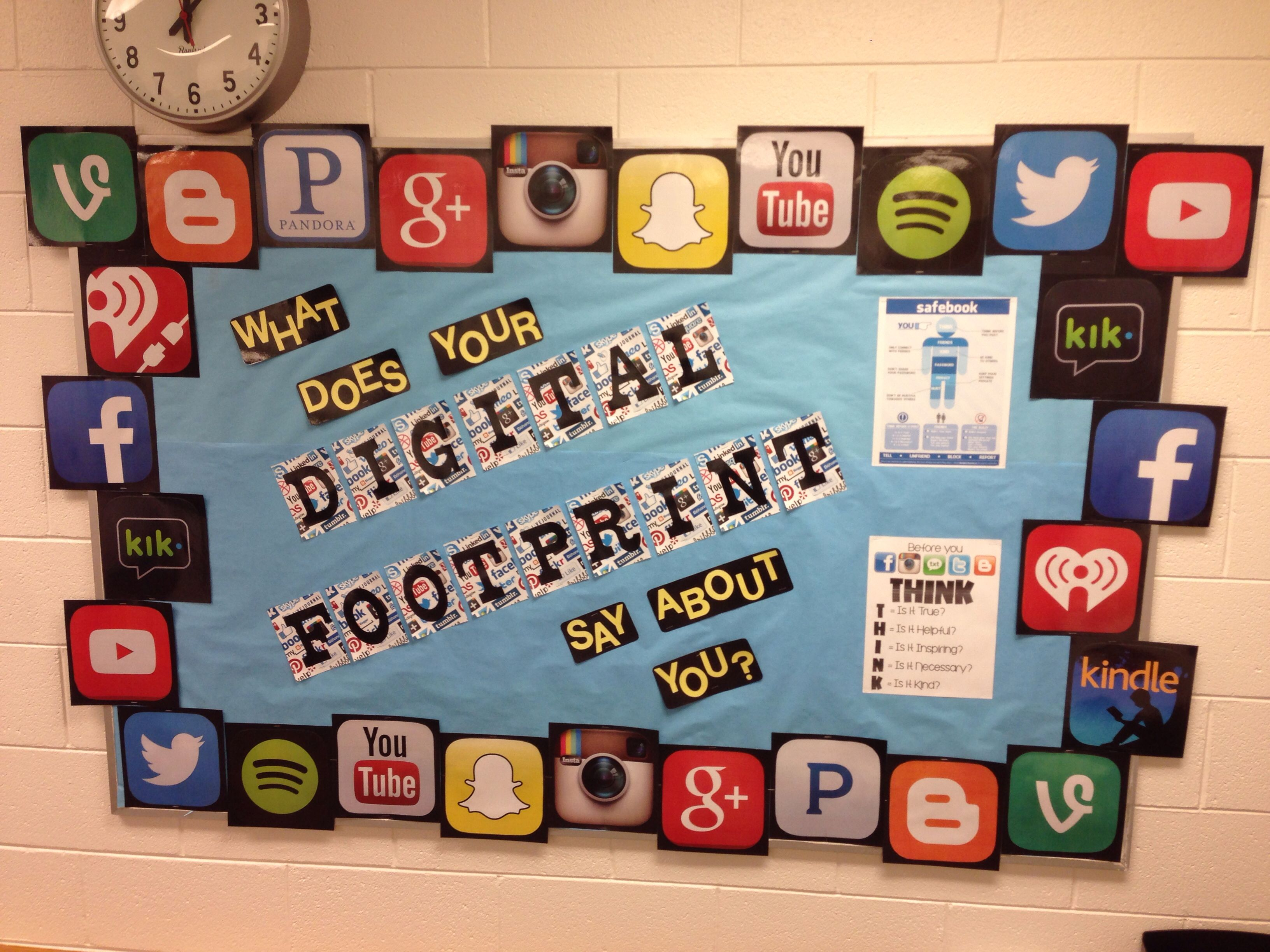 digital footprint bulletin board for my counseling office online rh pinterest com