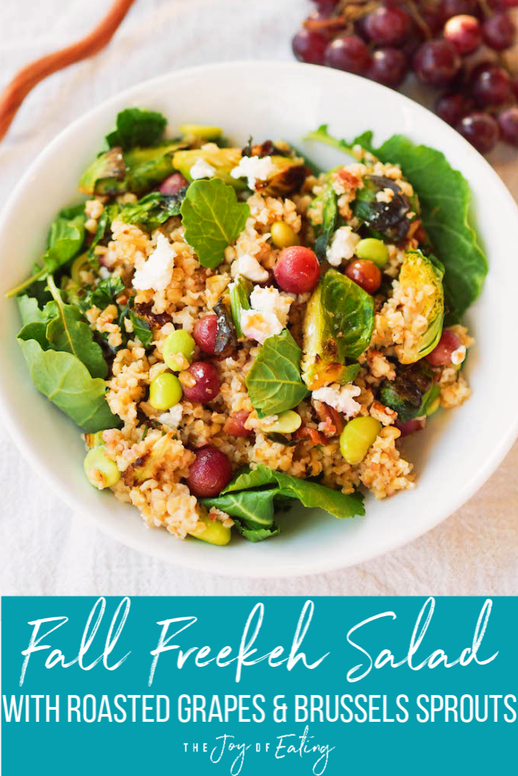 Fall Freekeh Salad With Roasted Grapes And Brussels Sprouts Registered Dietitian Columbia Sc Rachael Hartley Nutrition Freekeh Recipes Clean Recipes Best Vegetarian Recipes