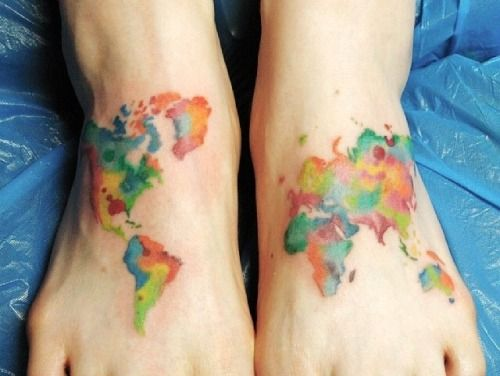 Watercolour world map tattoo addiction pinterest tattoo watercolour world map gumiabroncs Image collections