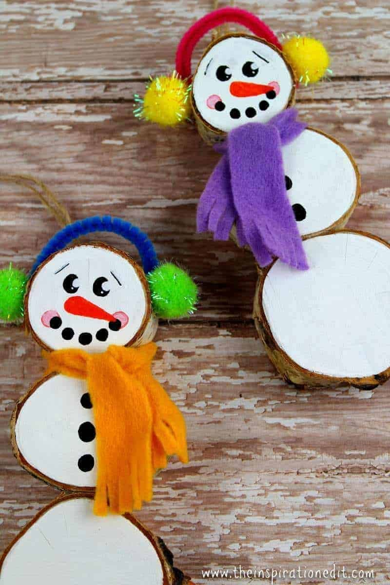 Wood Slice Christmas Snowman Decorations Homemade Christmas