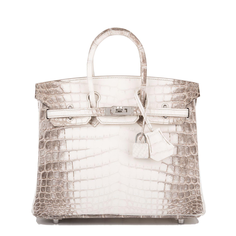 62471cd8edc Hermes Birkin Bag 25cm White Matte Niloticus Himalayan Crocodile Palladium  Hardware