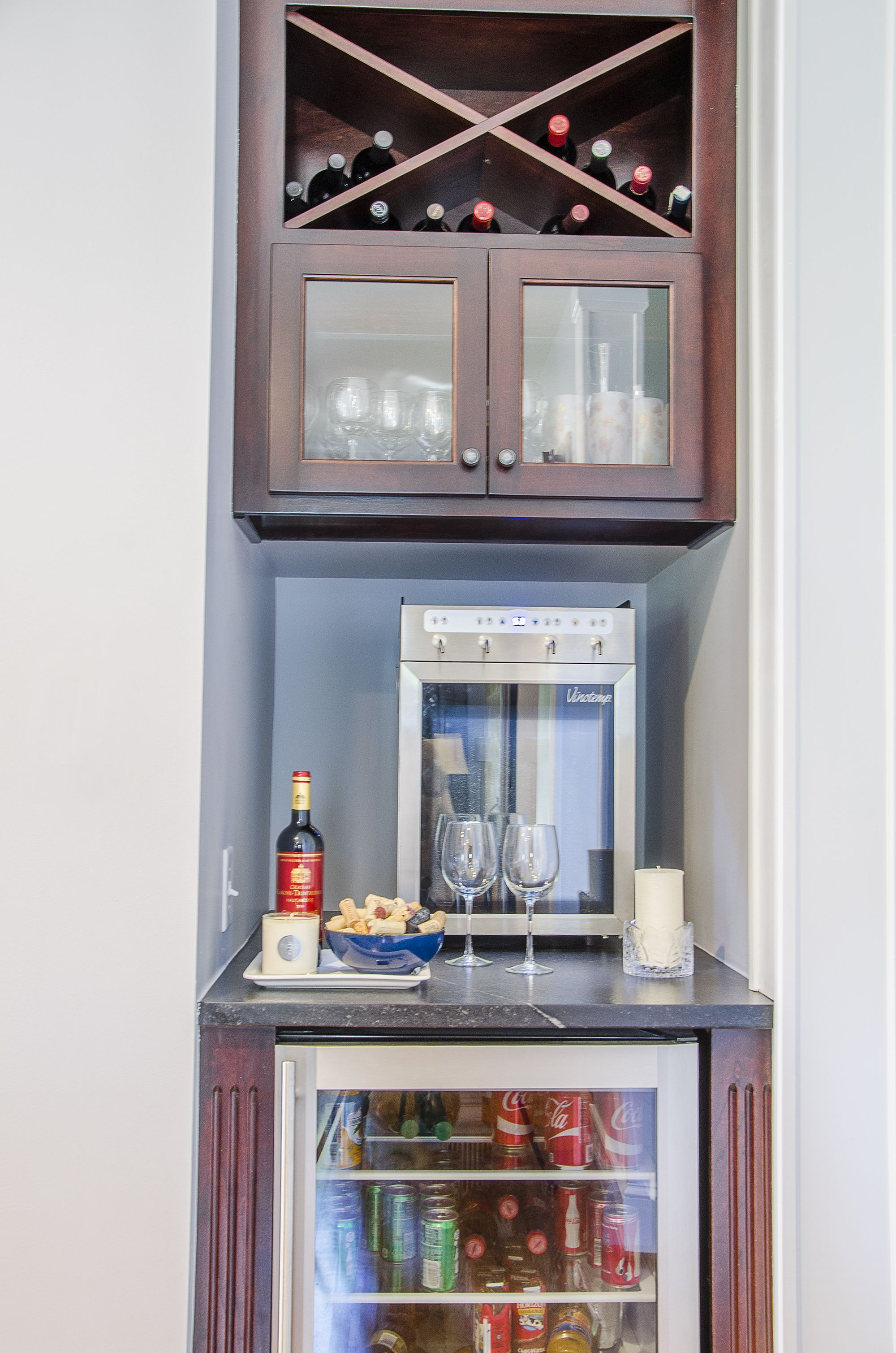Custom Built Wine Bar In Place Of A Small Closet This Kitchen Remodel Comes With Mini Fridge Dispenser And Shelving For