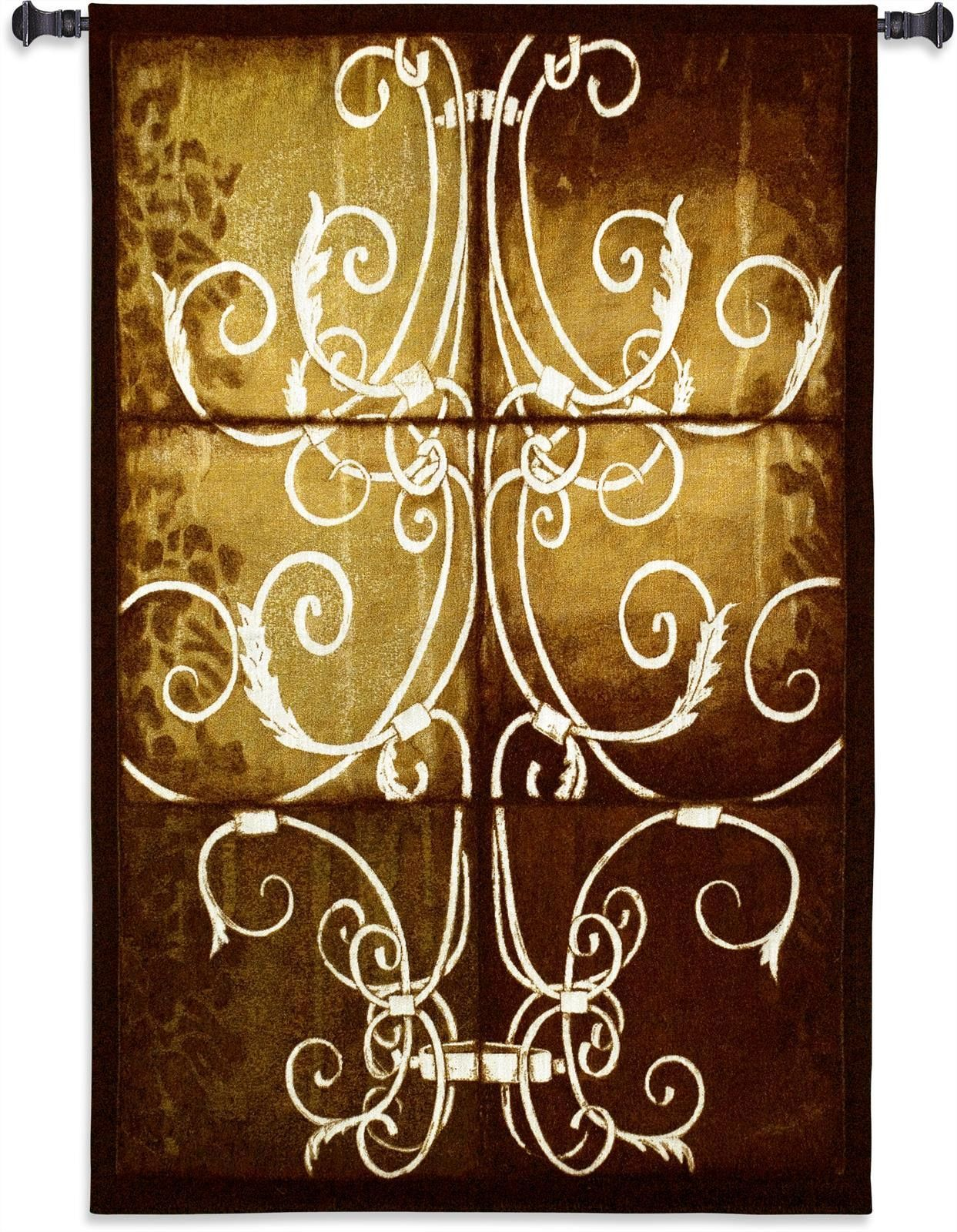 Wrought Iron And Damask Wall Tapestry | Damask wall, Wall tapestries ...