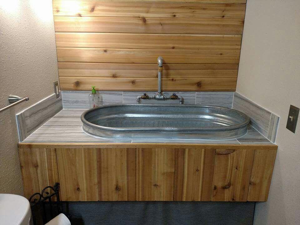 Utility Room Galvanized Water Trough Sink W Custom Industrial