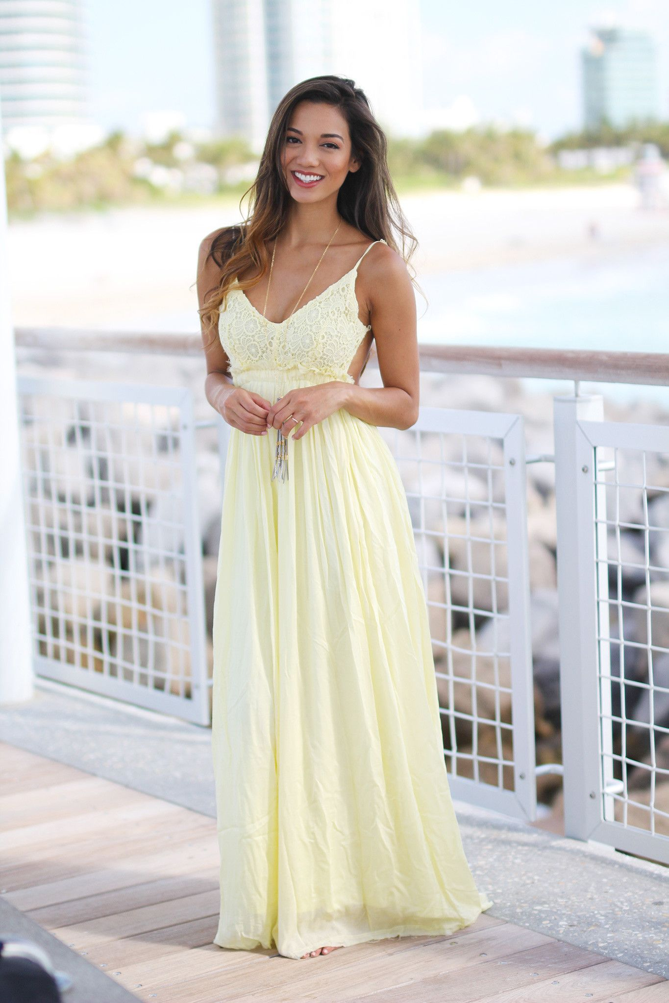 303c266adcee85 Take a look at this super elegant Yellow Lace Maxi Dress with Open Back!  Perfect for any special occasion! We love its beautiful skirt and sexy open  back!
