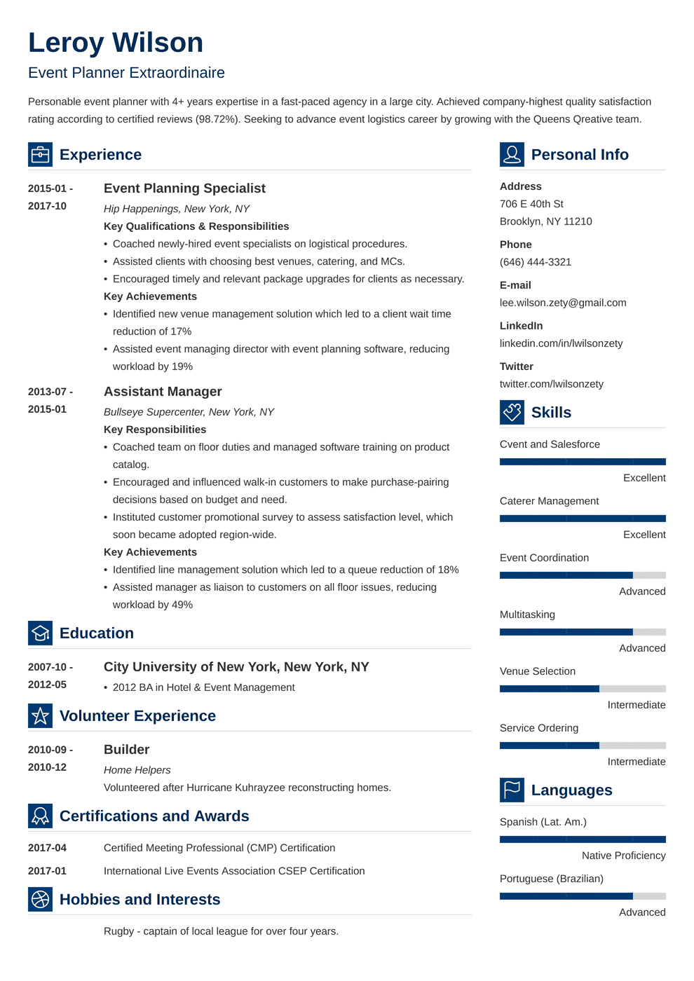 event planner resume template vibes in 2020 Event