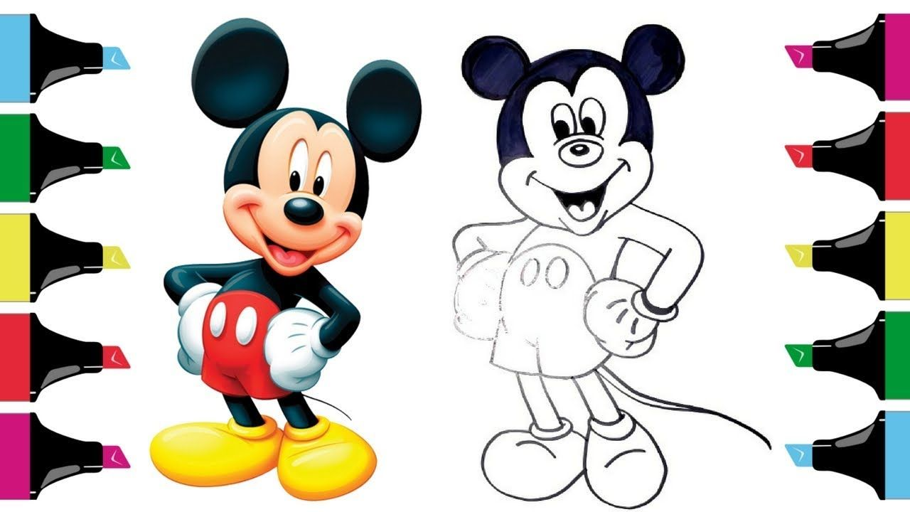 How To Draw Mickey Mouse Step By Step Slowly Easy Drawings For