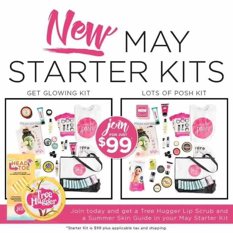 Lots of Posh or Get Glowing Kits for May 2016. You pay $99 for over $250 in product and essential business materials to start your new business off right! #getposhwithteresa #starterkit #perfectlyposh
