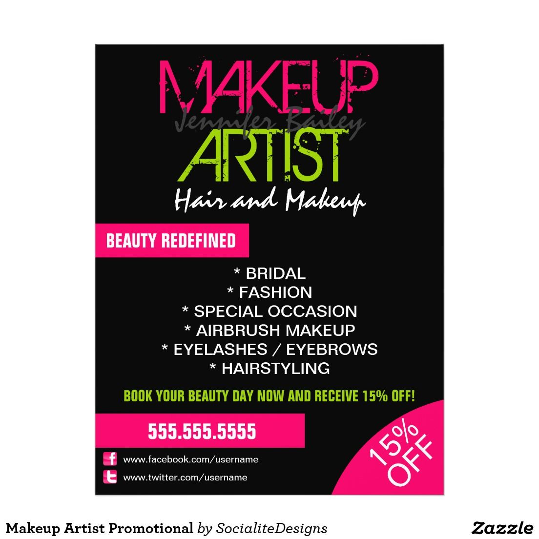 Makeup Artist Promotional Flyer Zazzle Com In 2021 Makeup Artist Beauty Salon Posters Professional Makeup Artist Kit