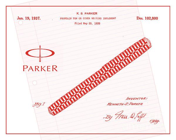 Patent art from 1936 for parker fountain pens in red with white patent art from 1936 for parker fountain pens in red with white ruled notebook paper background malvernweather Choice Image