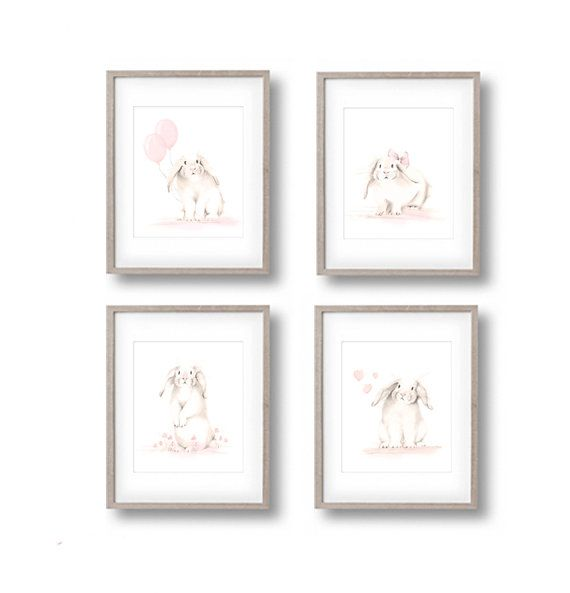 Bunny Nursery Art Prints, Set of 4, Rabbit Drawings, Nursery Sketches, White Bunnies, Sweet Blush, Baby Girl, Pink Flower Art, Hearts, Sepia -   24 nursery decor animals ideas