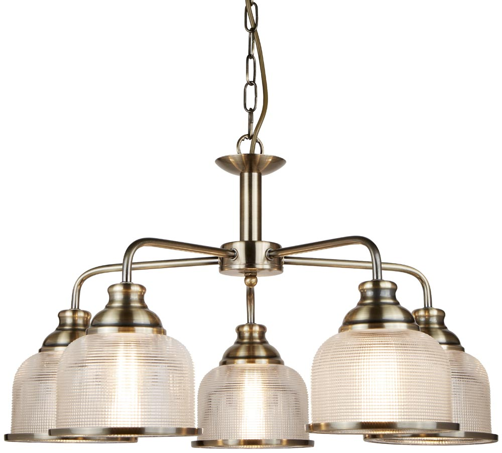 CHANDELIER traditional aged brass with halophane glass shades