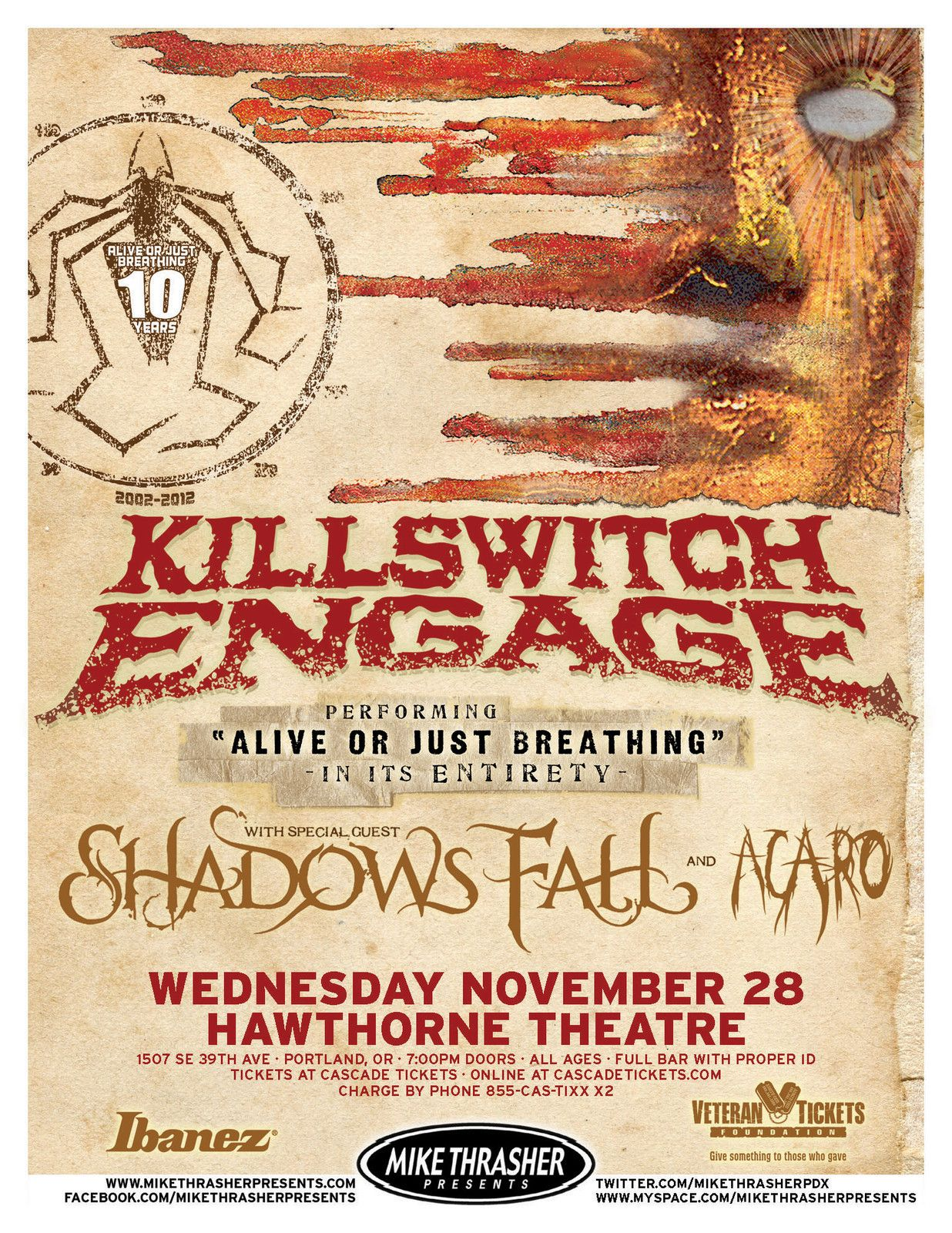 Metal Concert Posters Engage Shadows Fall 2012 Portland