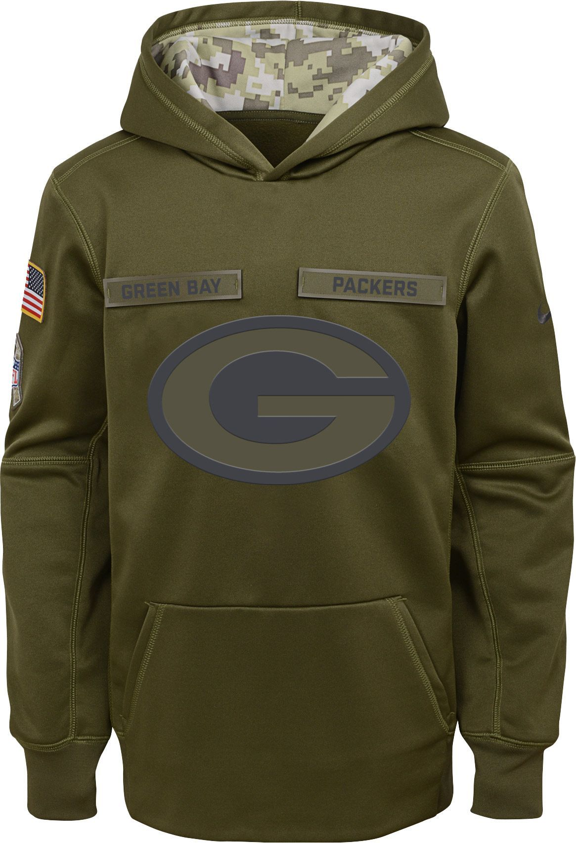 Nike Youth Salute to Service Green Bay Therma FIT Olive