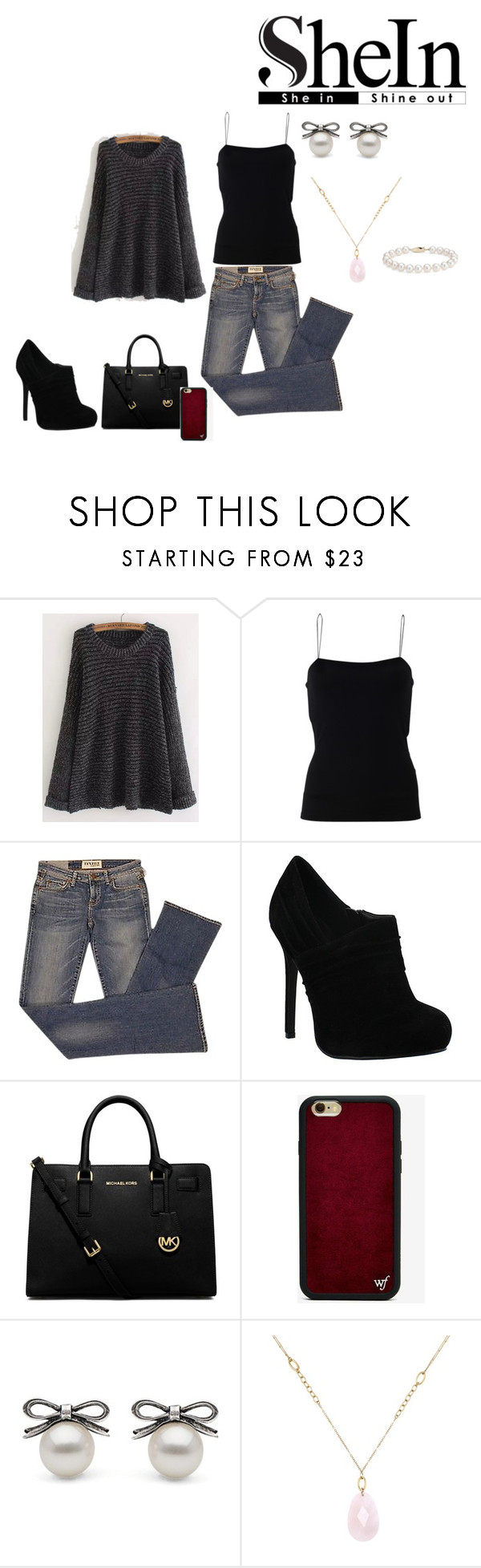 """""""Untitled #117"""" by diamondeswagg on Polyvore featuring T By Alexander Wang, Elizabeth and James, MICHAEL Michael Kors, Wildflower, White House Black Market and Blue Nile"""