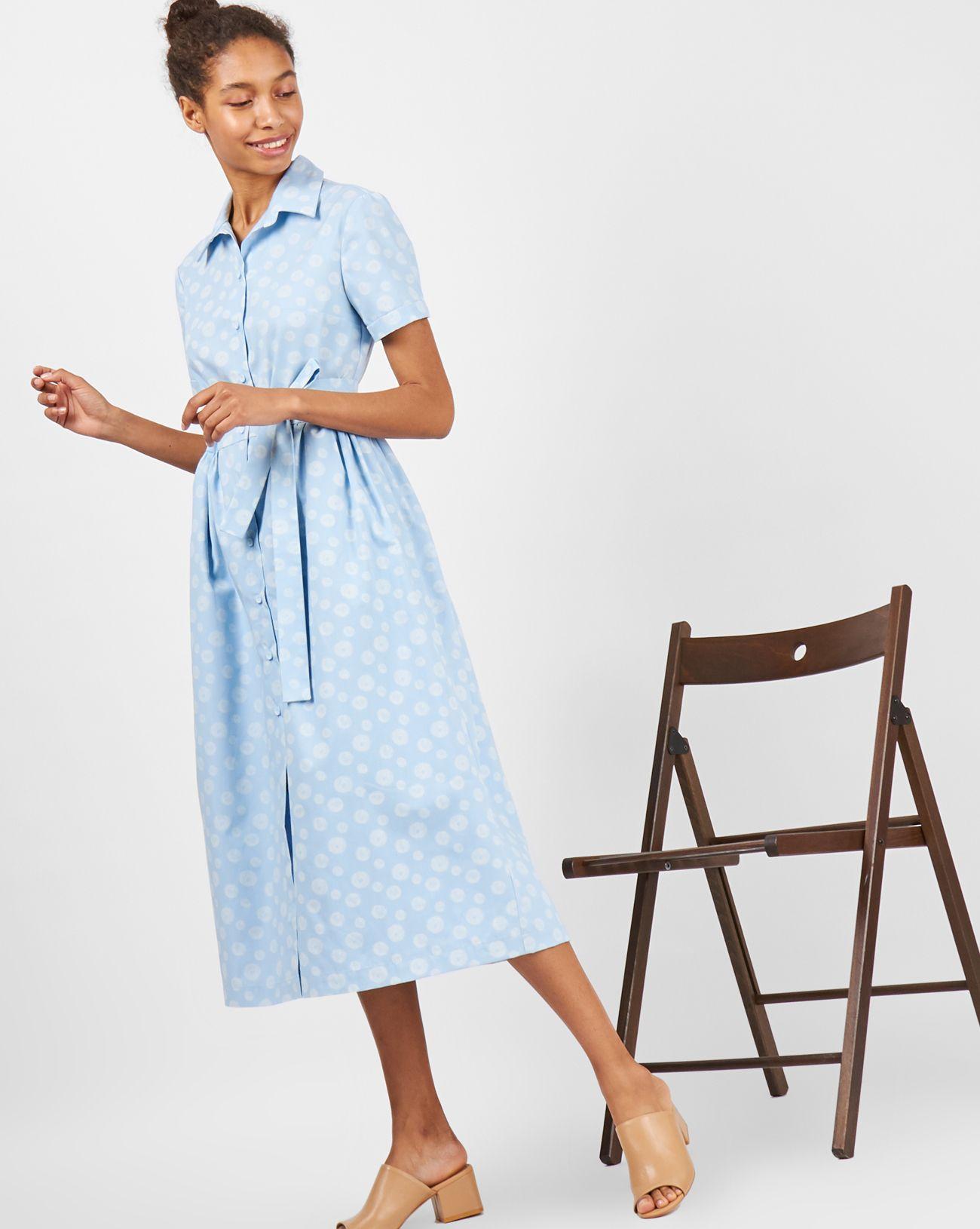 aec16ff07a9 Платье-рубашка миди с коротким рукавом на манжете. Классический воротник