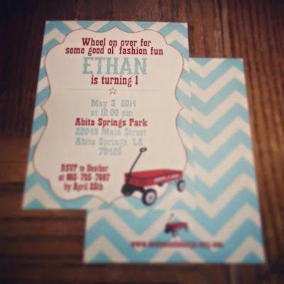 vintage radio flyer birthday invitations. etsy. design. radio flyer. birthday design. dawn nicole design