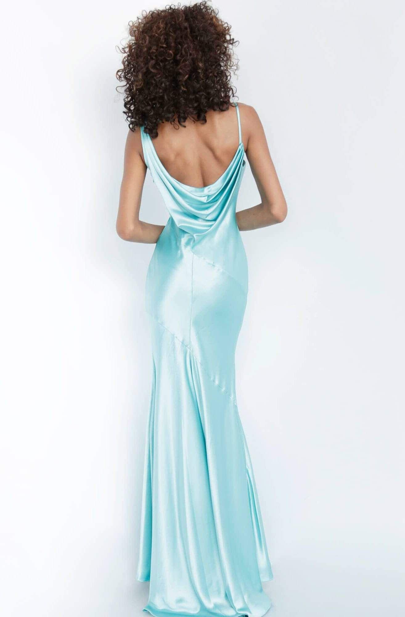 Jovani 68506 Cowl Neck Satin Sheath Dress Dresses Fitted Prom Dresses Satin Prom Dress [ 2000 x 1314 Pixel ]