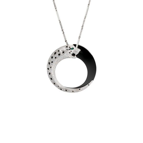 Cartier panthre pendant in white gold emeralds onyx ceramic cartier panthre pendant in white gold emeralds onyx ceramic diamond mozeypictures Image collections