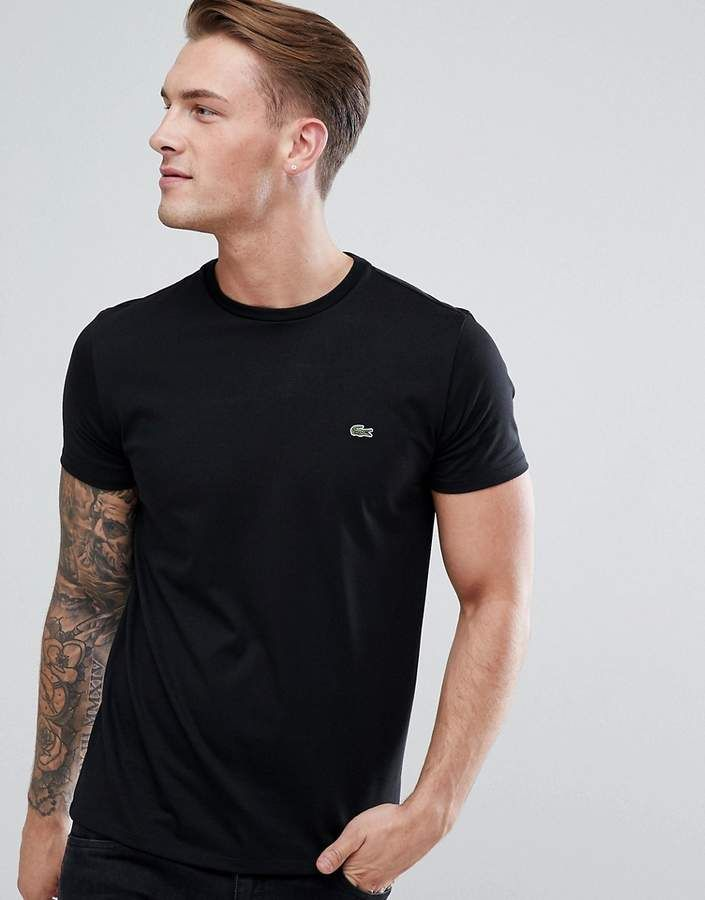 71c4a4206f20 Lacoste Logo Crew Neck T-Shirt In Black