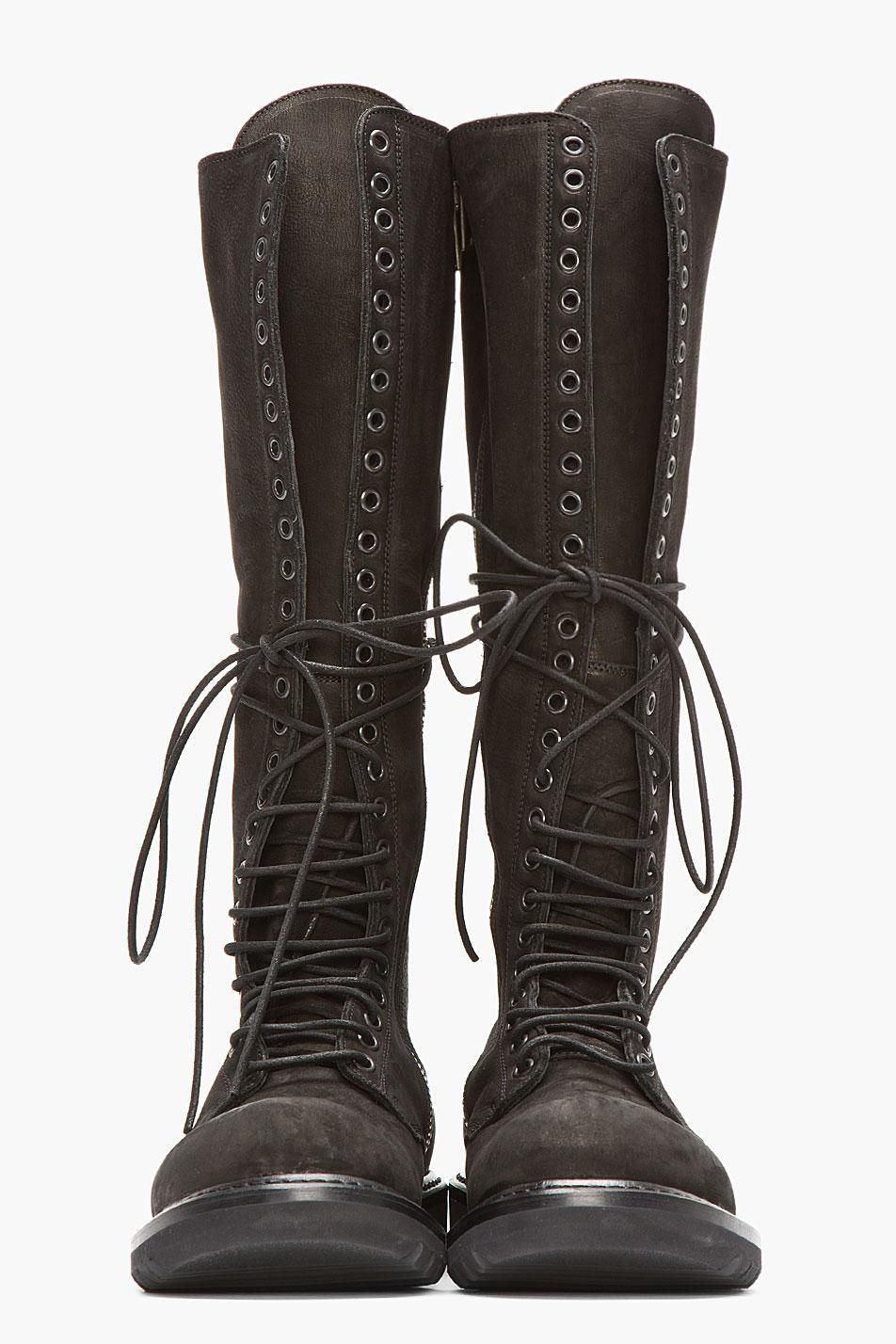 Black Nubuck & Leather Knee High Lace-Up Combat Boots on Wantering ...